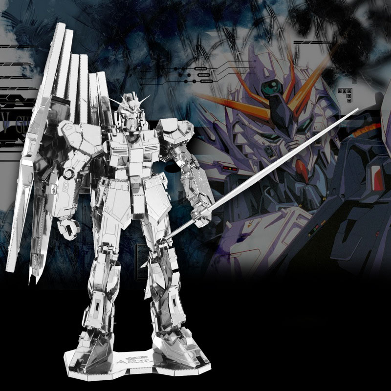 3D DIY Metal Mech Warrior Model Assemble Toys For Gundam RX-93 Stainless Steel Silver Stereoscopic Metal Jigsaw Puzzle Fans Toy