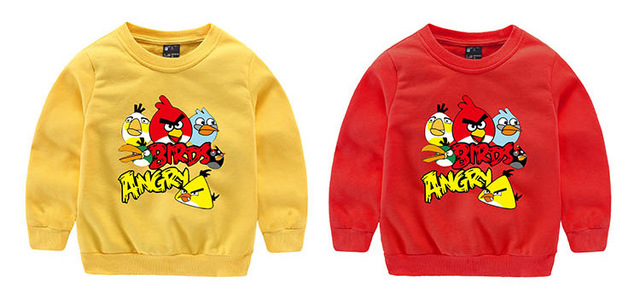 2016 new Autumn&spring cartoon angry bird Children Outerwear  hooded girls boy sweatshirt kids clothes for 3-9T