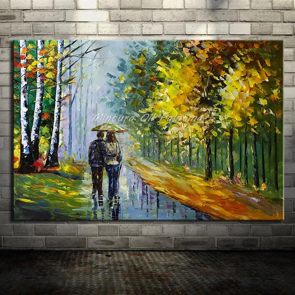 Большой расписанный вручную любовник дождь уличное дерево лампа пейзаж картина маслом на холсте настенные художественные настенные картины для гостиной домашний декор - Цвет: HY142212