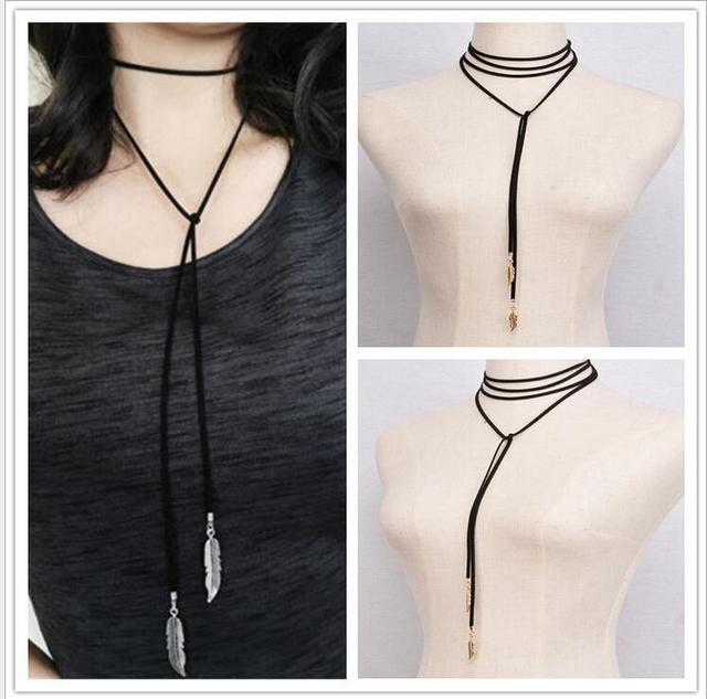 de01b15001da Largo de cuero negro gargantilla collar de cuero mujeres accesorios venta  gargantilla collar collares de moda