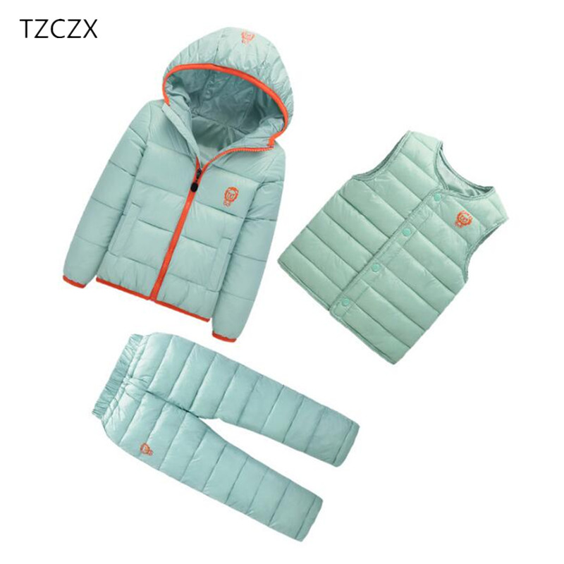 C5520 Winter Children Boys Girls Sets Unisex Solid Hooded Jacket + Vest + TrousersSuit Clothing For 18 Months to 7 Years цена