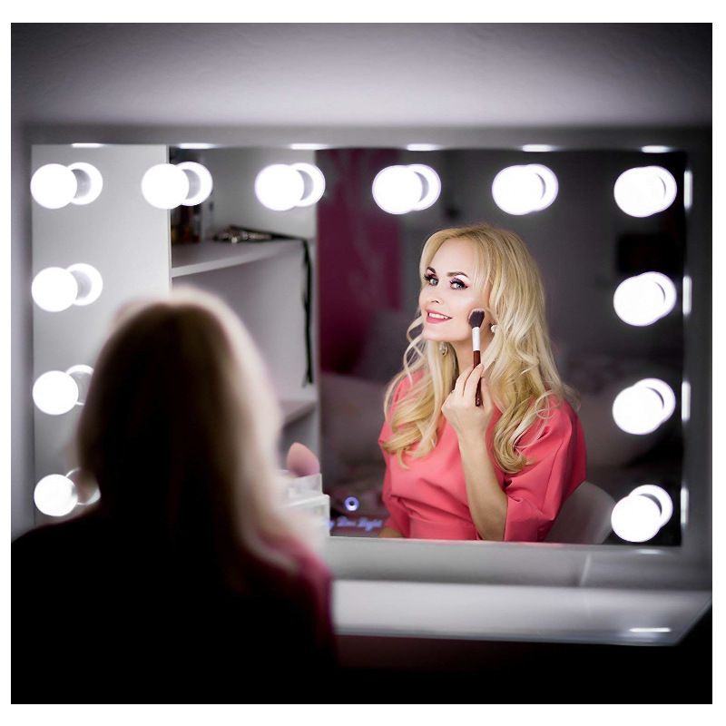 Makeup Mirror LED Usb Three Color Adjustab Lights 10 Hollywood Vanity Light Bulbs with Dimmer,Linkable,Mirror Not Included