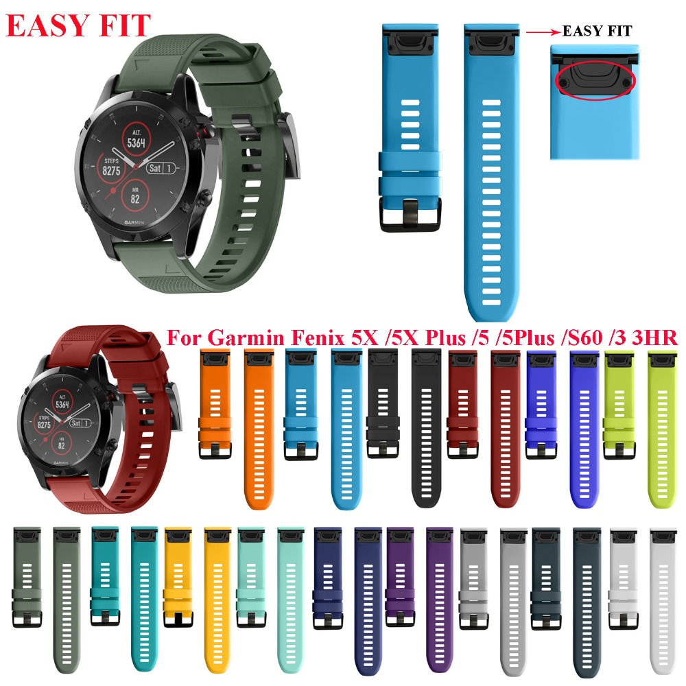 JKER 26 22MM Watchband til Garmin Fenix ​​5 5X 3 3 HR til Fenix ​​5X Plus S60 Watch Hurtigudløsning Silikone Easyfit Wrist Band Strap
