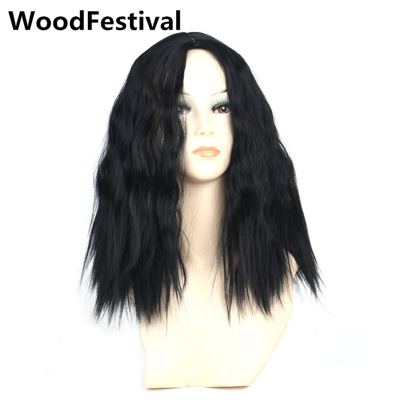 WoodFestival medium length wigs for black women heat resistant high temperature fiber synthetic hair corn wig