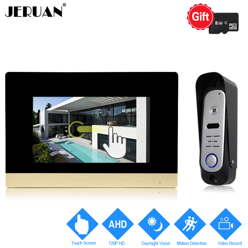JERUAN 720P Motion Detection 7`` Touch Screen Color Video Door phone Unlock Intercom System Record Monitor +HD Waterproof Camera jeruan home 7 video door phone intercom system kit rfid waterproof touch key password keypad camera remote control in stock
