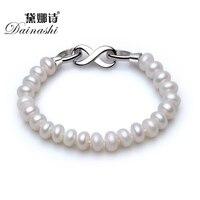 Dainashi 925 prata esterlina jóias fecho 8-9mm branco rosa roxo natural pérola encantos pulseiras 18 cm pérola pulseiras jóias