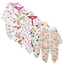 6 peças/lote macacão do bebê recém nascido meninas meninos roupas 100% algodão manga longa pijamas do bebê dos desenhos animados impresso conjuntos do bebê