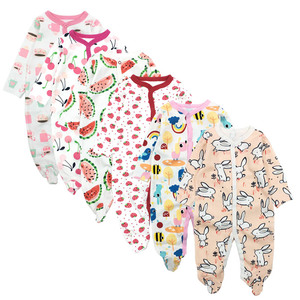 Image 1 - 6pieces/lot Baby rompers Newborn Baby Girls Boys Clothes 100% Cotton Long Sleeves Baby Pajamas Cartoon Printed Babys Sets