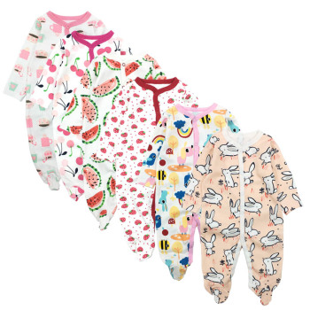6pieces/lot Baby rompers Newborn Baby Girls Boys Clothes 100% Cotton Long Sleeves Baby Pajamas Cartoon Printed Baby's Sets