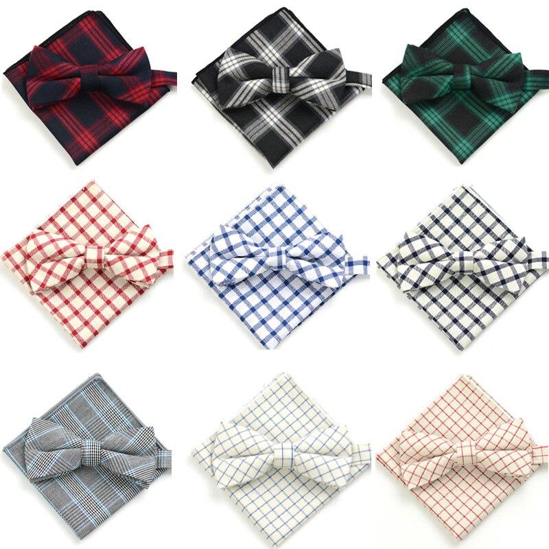 Men Fashion Cotton font b Tartan b font Checks Grids Pre tied Bow Tie Pocket Square