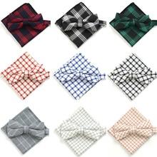 Men Fashion Cotton Tartan Checks Grids Pre-tied Bow Tie Pocket Square Hanky Set BWTYY0068