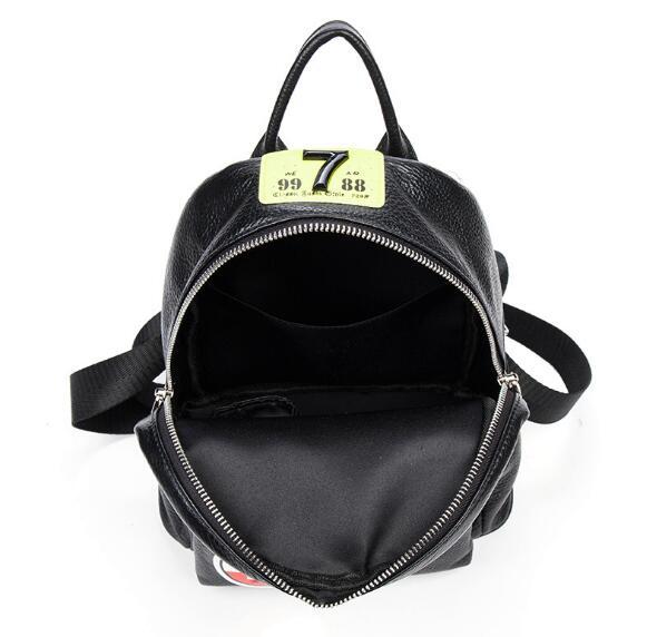 Große Frauen Echtes Beiläufigen Rucksack Sticken 20cm Mode Tasche 30cm Leder Im 26cm Freien SfxBIqwU