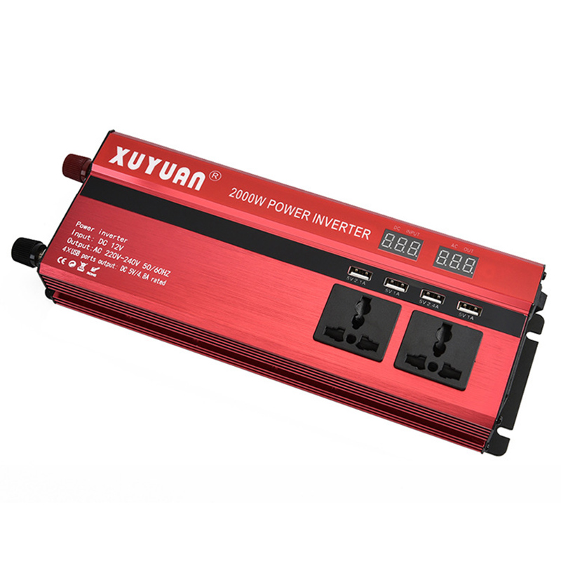 600W 1200W 2000W Potable 60Hz Car LED Display Screen Power Inverter Converter DC 12V To AC