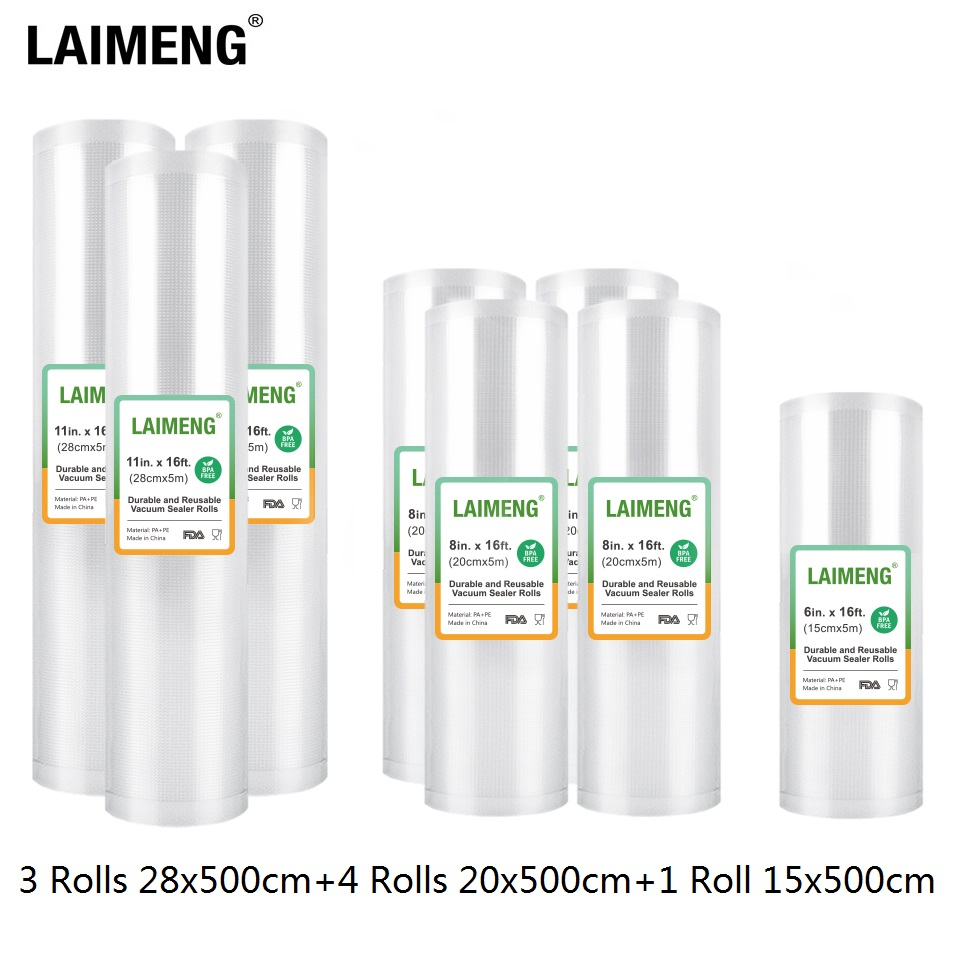 LAIMENG 8 Rolls Vacuum Sealer Bags For Vacuum Packing Machine Packing Bags for Food Storage Sous