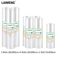 LAIMENG 8 Rolls Vacuum Sealer Bags For Vacuum Packing Machine Packing Bags for Food Storage Sous Vide 15+20+28cm*500cm R201B