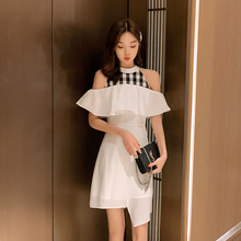 EAD Sexy Off Shoulder Elegant Slim Irregular Dress Women Vintage Halter Sleeveless Party Dresses Female Splice Plaid Vestidos