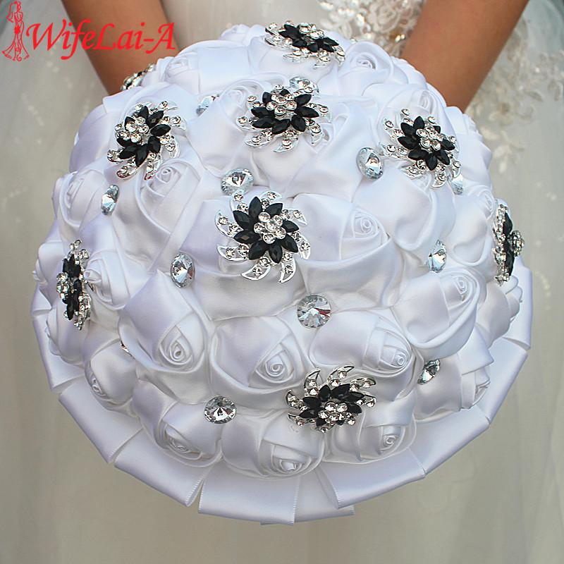 Image 4 - WifeLai A Pure White Rose Flower Black Brooch Wedding Bouquets buque de noiva Bridal Crystal Wedding Bouquets Flowers Customcrystal wedding bouquetswedding bouquetbuque de noiva -