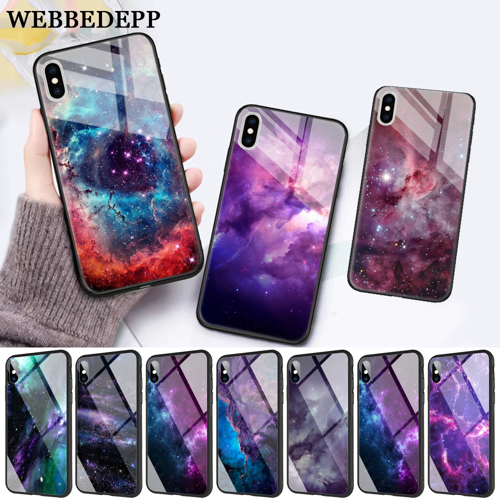 WEBBEDEPP interstellar Purple Space Star Glass Phone Case for Apple iPhone XR X XS Max 6 6S 7 8 Plus 5 5S SE in Fitted Cases from Cellphones Telecommunications