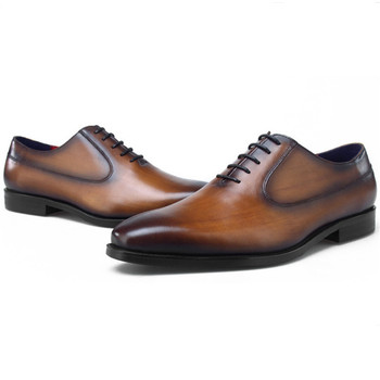 Top Quality Black / Brown / Blue /  Tan Wedding Dress Shoes Mens Oxfords Genuine Leather Business Shoes Male Social Shoes