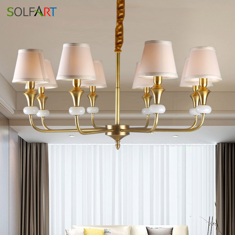 chandelier lighting modern for room dining classical retro european style copper color metal fabric shade chandelier