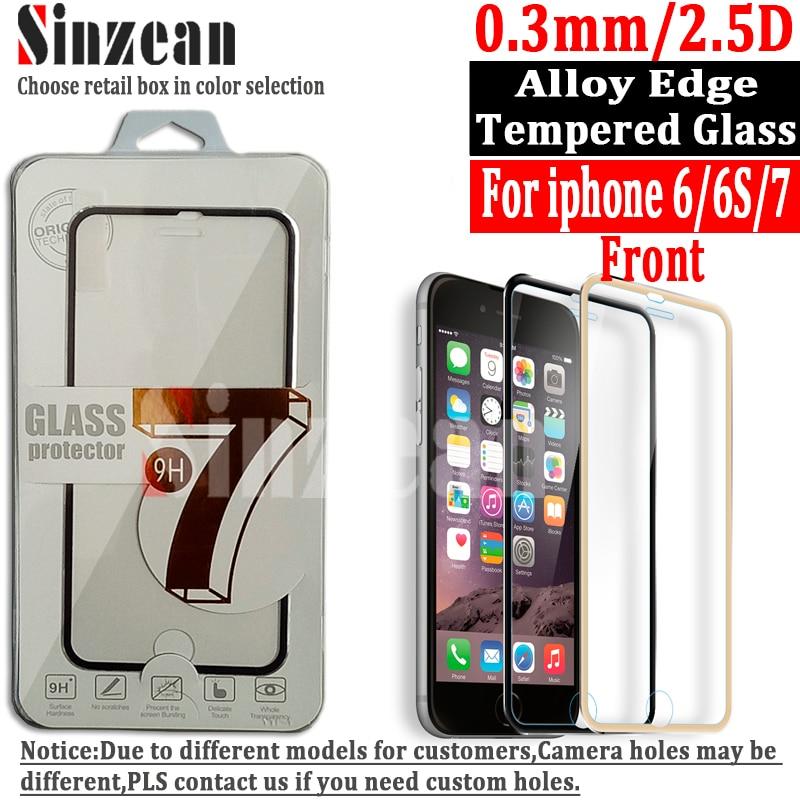 bilder für Sinzean 100 stücke für iphone 7/6/6 s/5/5 s 3d gebogene voll abgedeckt titanium legierung rand hartglas displayschutzfolie mit kleinkasten