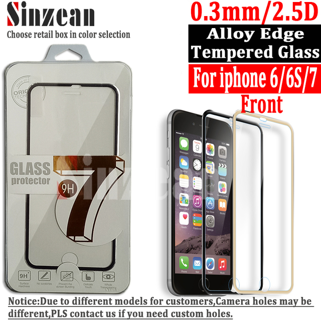 Sinzean 100pcs For iphone 8/7/6/6S/5/5S 3D Curved Full covered Titanium alloy Edge Tempered glass screen protector