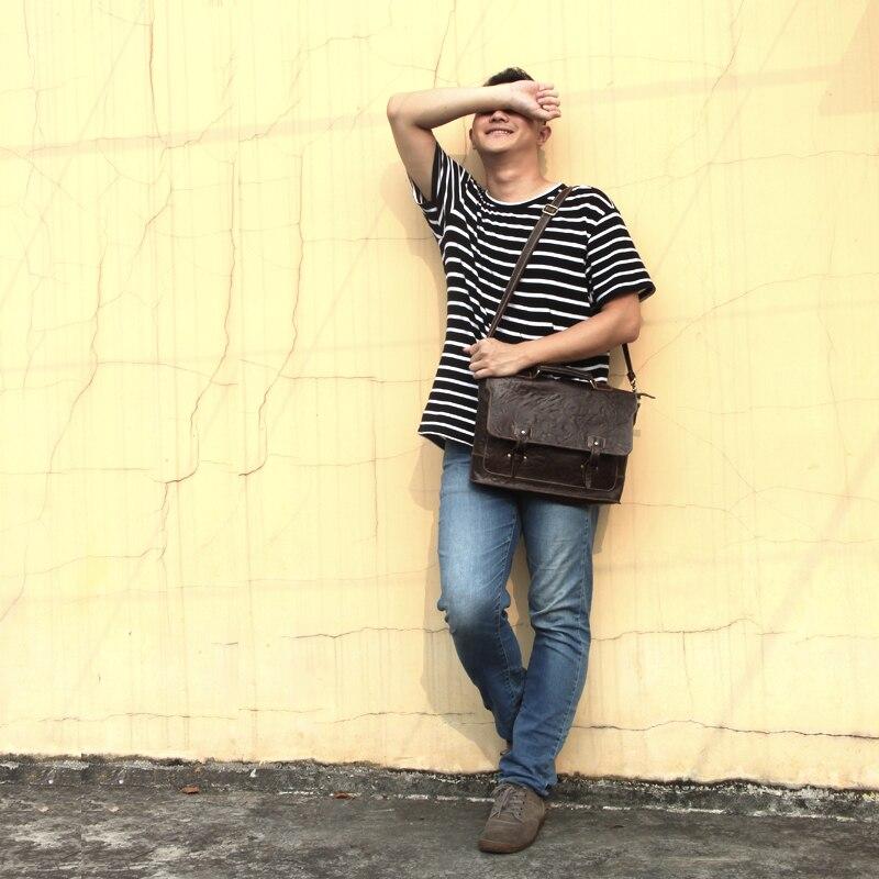 Подлинная верхний слой масла кожа мужские портфель для ноутбука повседневные деловые работы vintage ранцы прямоугольник плечо сумка коричнев...