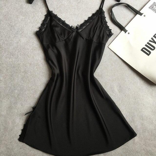 03123dceb Ladies Sexy Satin Nighties Sleeveless Nightgown V-neck Night Robe ...
