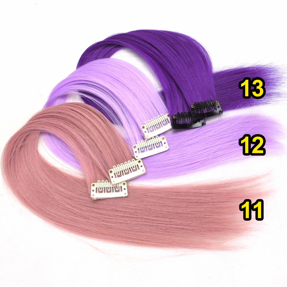 HTB1RKllUIbpK1RjSZFyq6x qFXah - Colored synthetic hair extensions clips in one piece Ombre fake purple long straight rainbow hair pieces dream ice's