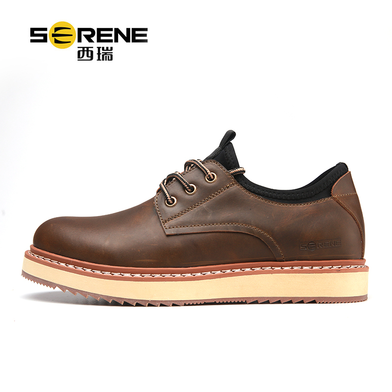 Split Leather Casual Boots For Men Platform Shoes Lace-up Waterproof Causal Footwear Spring Anti-slip Mens Classic Black Shoes