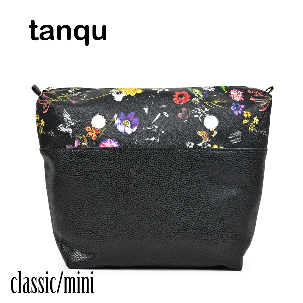 tanqu Leather Inner Pocket Lining for Obag EVA O BAG Classic Mini Flower Combined Solid PU Waterproof Insert Women Handbag tanqu new classic floral print pu leather lining waterproof insert zipper inner pocket for classic big obag o bag women handbag