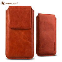 Jisoncase Phone Pouch for iPhone 8 8 Plus Sleeve Luxury Genuine Leather Bag Magnetic Closure for iPhone 8 8 Plus Case Cover