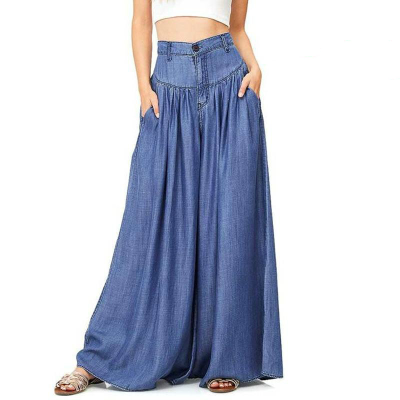 Plus Size Summer Linen Wide Leg Pants Women Casual Palazzo Trousers High Waist Blue Black Demin Long Pants Femme Pantalon Mujer