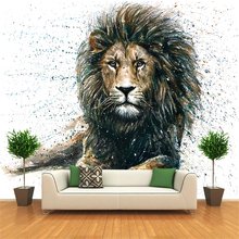 Amazing Animal Lion Custom Photo Canvas Wall Paper Wall Mural Backdrop Wallpaper Living Room Bedroom Home Decor YBZ176
