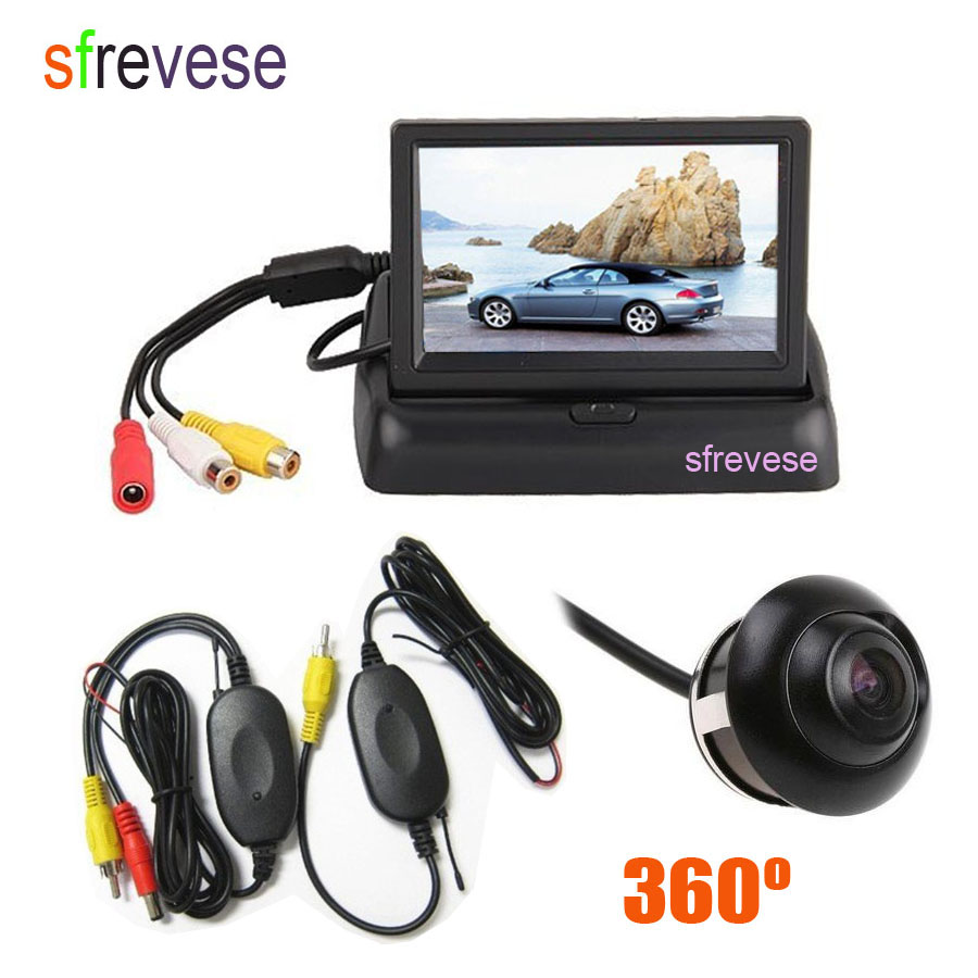 Wireless 360 Degree Rotateable Car Vehicle Reversing Parking Backup Camera + 4.3 LCD Foldable Monitor Rear View Kit