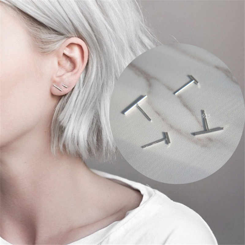 Punk Simple 925 Sterling Silver Stud Earrings for Women Gril Wedding Jewelry Bijoux boucles d'oreilles eh913