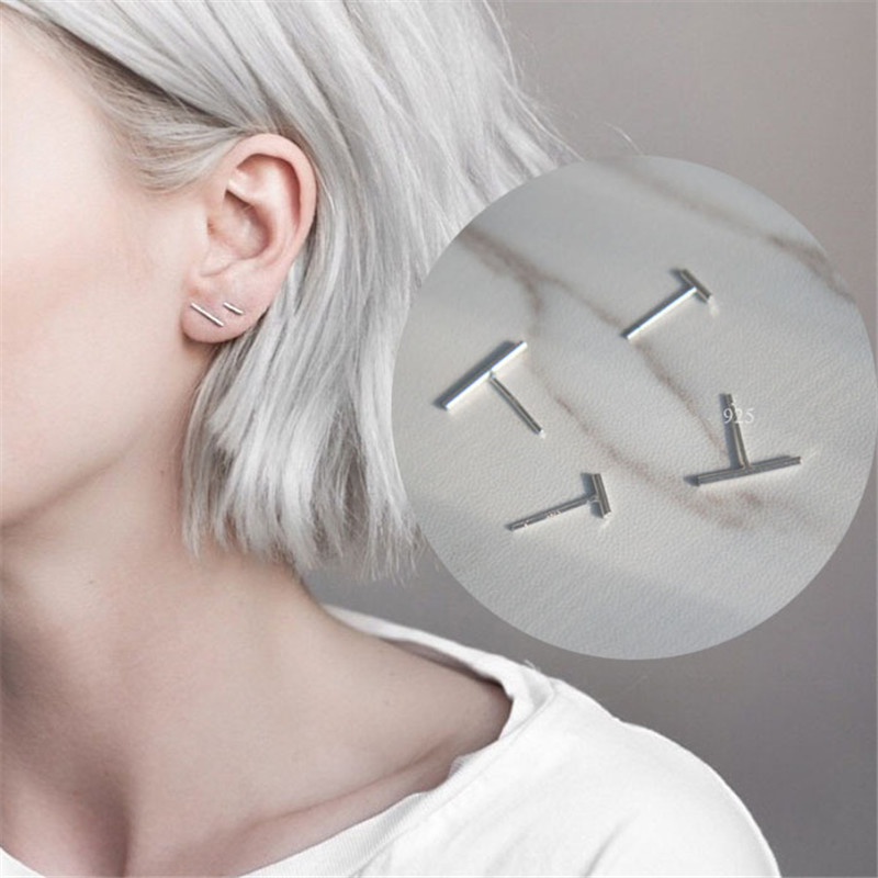 Qualified Punk Simple 925 Sterling Silver Stud Earrings For Women Gril Wedding Jewelry Bijoux Boucles Doreilles Eh913 To Have Both The Quality Of Tenacity And Hardness Earrings Jewelry & Accessories