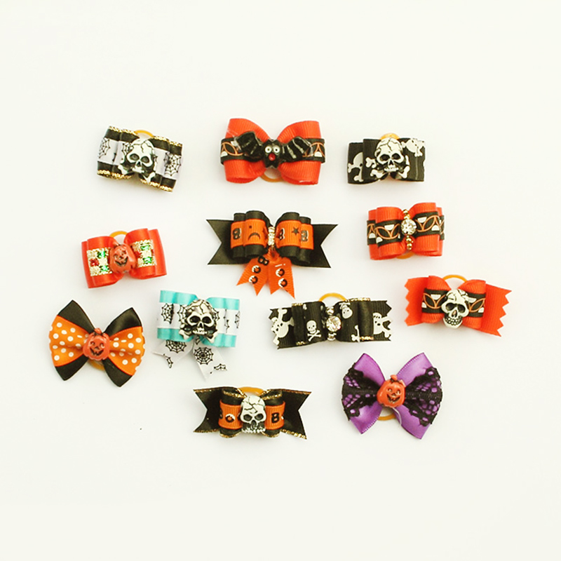 armi store 6011003 handmade halloween pets grooming ribbon bow 10pcs mix rubber bands pet dog show - Halloween Supply Store