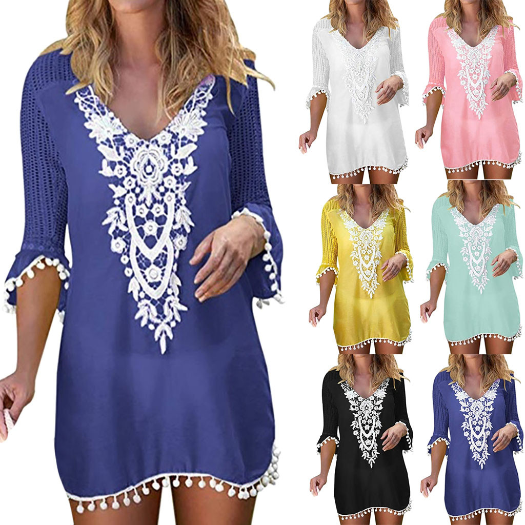 614099d9102 swimwear woman one piece dress Women Pom Pom Trim Tassel Lace Crochet  Swimwear Beach Cover Up