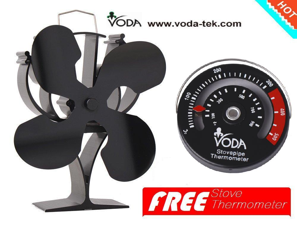 New Designed Heat Powered Stove Top Fan With Free Stove Thermometer For Wood/Log Burner Fireplace-Eco Friendly Air Flow 220cfm