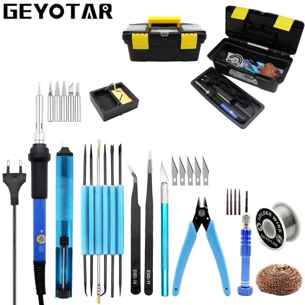 EU 220V 60W Adjustable Temperature Electric Soldering Iron Kit+5pcs Tips+Desoldering Pump+Solder Wire Portable Welding Tool цена