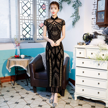 Lace Sexy Long Cheonsam Dress Wedding Party Chinese Traditional Vestidso Classic Print Flower Qipao Big Size M L XL XXL 3XL