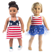 18 inch doll toys dress stripe star pattern lace dress for 43cm doll dresschildren girl birthday gifts(China)