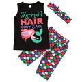 3pcs!!Summer 2017 Kid baby Girls Clothes Set Mermaid Sleeveless T-shirt Tops+Shorts Pants Headband Clothes Outfits Set