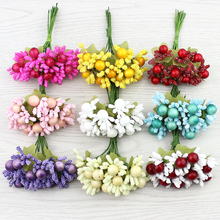 20pcsc Mini Artificial Stamen Bud leaf flower bouquet for Wedding Christmas party Decoration DIY wreaths Fake Flowers(China)