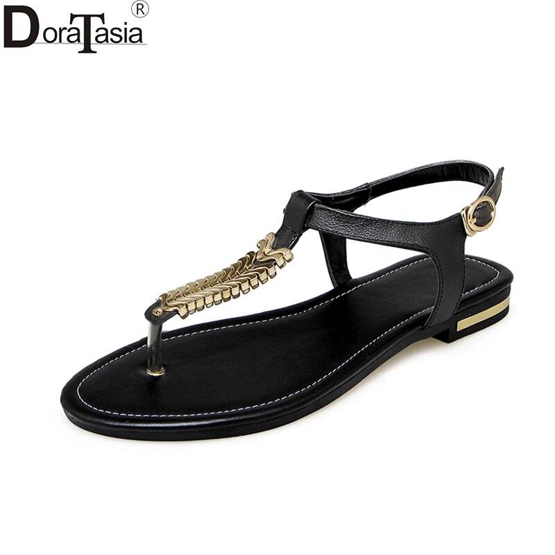 Doratasia 2019 atacado plus size 31-44 vaca couro genuíno sandálias de verão moda feminina de salto baixo qualidade sapatos casuais mulher