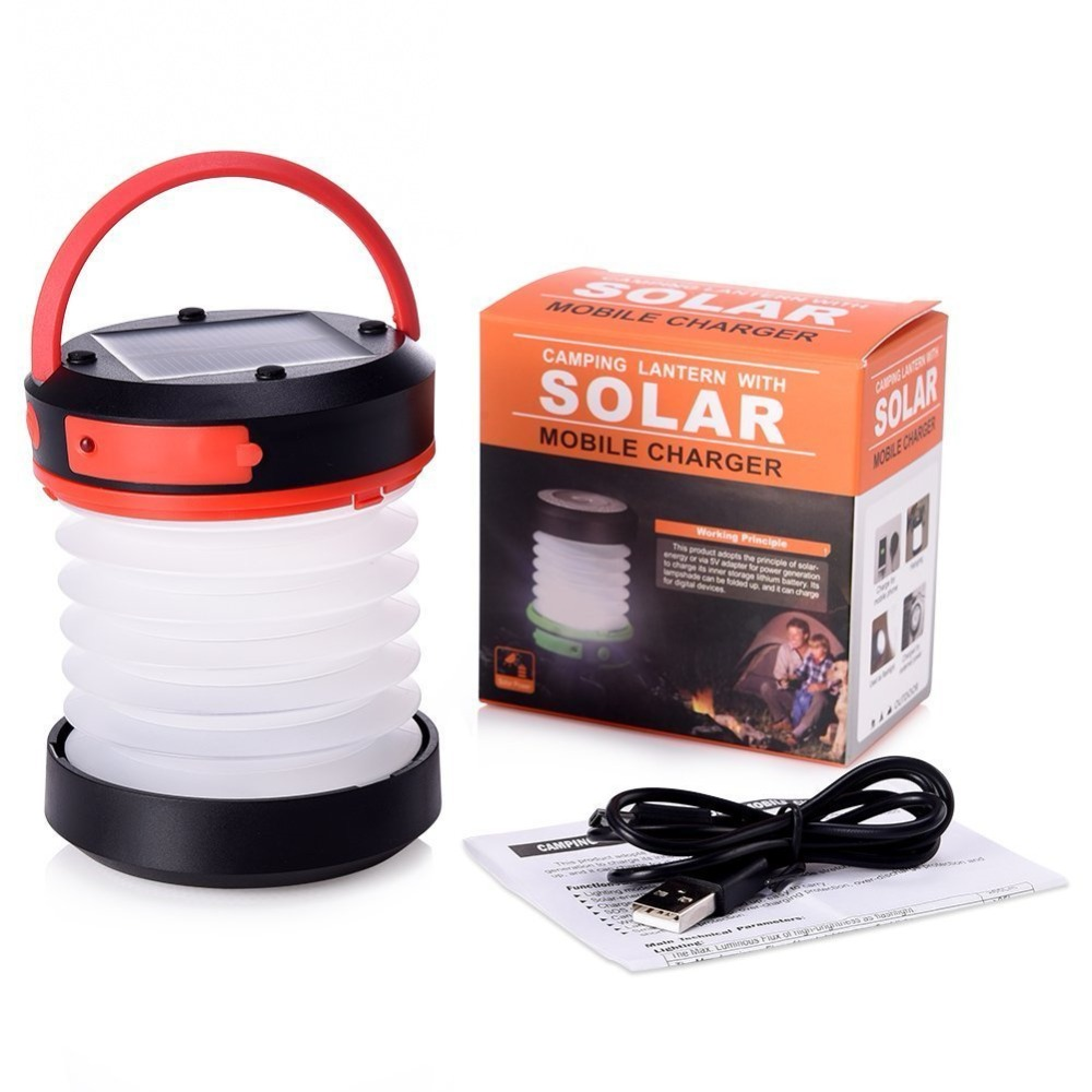 LED Camping Lantern & Flashlight for the OutdoorRechargeable via Solar Panel or USB Cord Emergency Power Bank