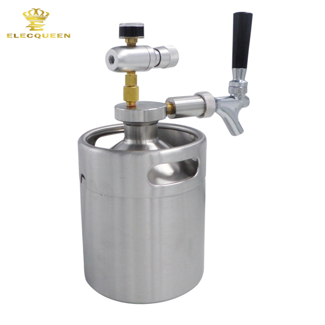 2L Mini Keg Beer Growler with Beer Growler Spear, Tap Faucet with ...