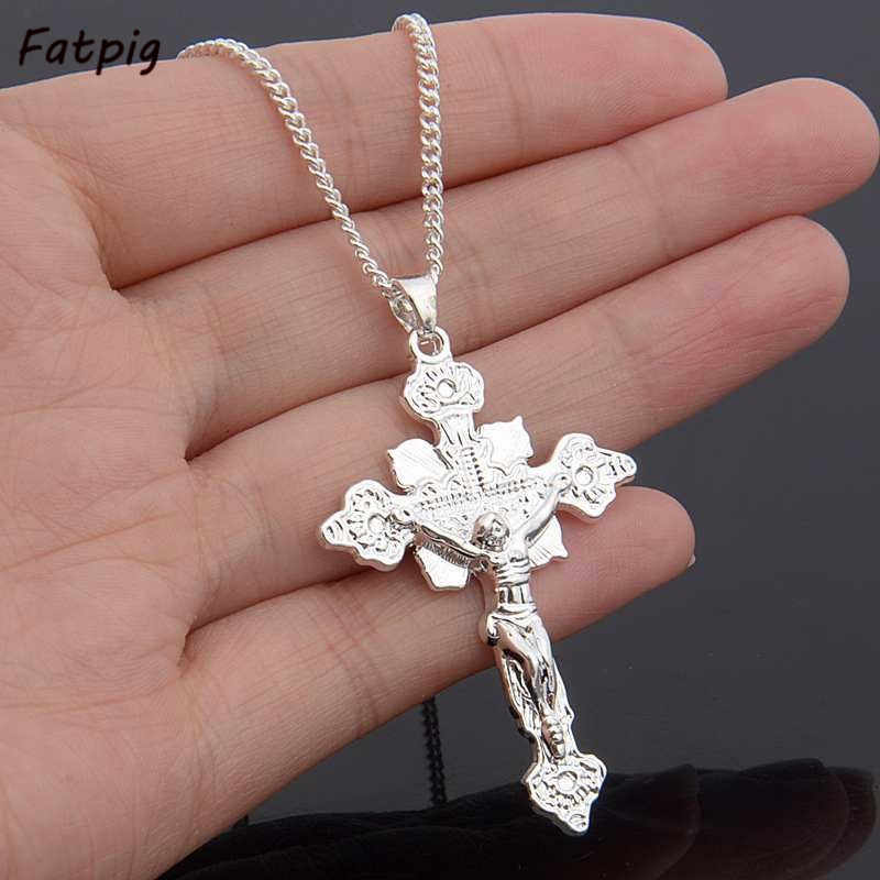 1pcs New Hot Women/ Men Cross Design Pendant Silver Plated Jesus Pendant Without Chain Pendant Necklaces Pendant Accessory