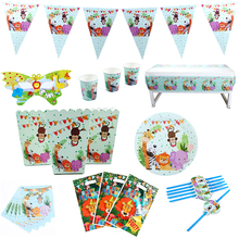 87Pcs\Lot Jungle Animal Theme Decoration Party favors Plate Fork Flag Children Kids Birthday Disposable Tableware
